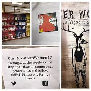 UNT Library, conference bags, Deer Woman featured comic, and Monstrous Women social media information