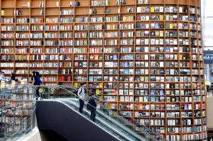 A beautiful wall of books at the newly opened Starfield Library in Seoul, South Korea.
