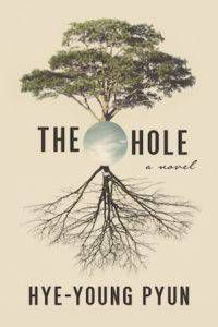 The Hole book cover: beige background with a tree and roots with a circle of the sky in the center