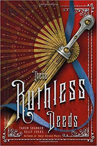 Cover of These Ruthless Deeds. Red background featuring opened fan with knife attachment.