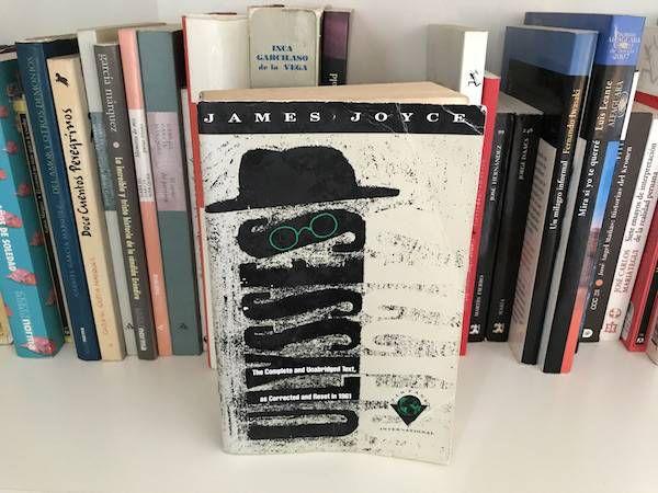 Copy of Ulysses by James Joyce on a bookshelf.