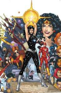 splash page featuring donna's modern costume and many loved ones