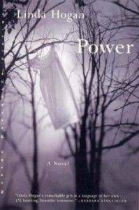 book cover for power: a white dress hangs from bare trees