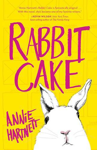 book cover of rabbit cake - white rabbit on yellow background