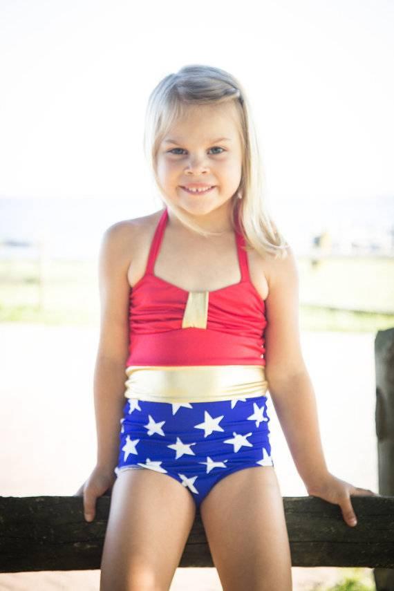 03cae19f85f7f High-waisted bikini bottoms featuring pop comic art, up to size 26, $46-54.