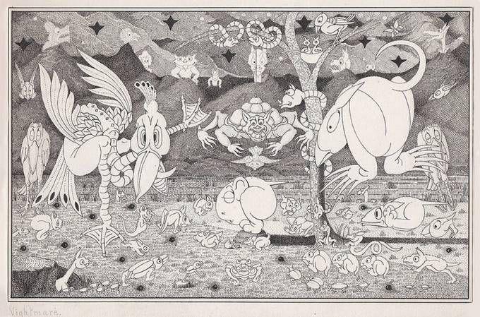 Herbert Crowley ink and pen illustration of monsters