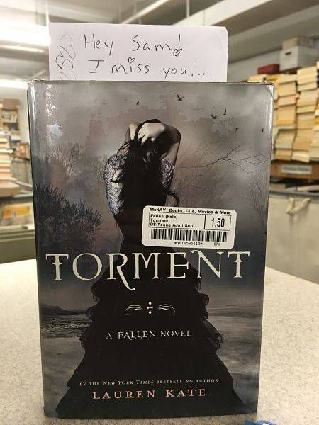 A personal letter used as a bookmark in the YA novel Torment.