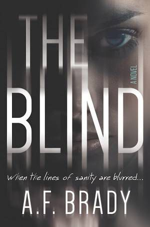 The Blind cover image: zoomed in image of a young white woman's face and the book title and author name on top