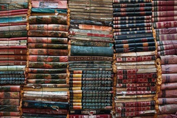 piles of antique books