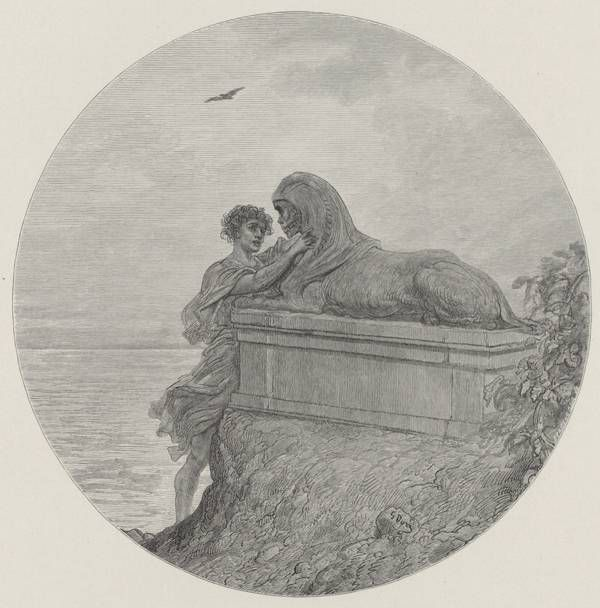 Final medallion from Gustave Doré 1883 illustration of The Raven | Bookriot.com
