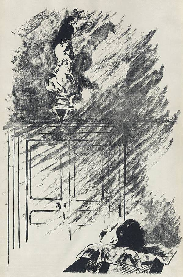 """With my head at ease reclining"" 1875 Edouard Manet illustration of The Raven 