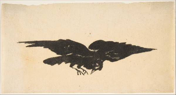 """Ex Libris"" 1875 Edouard Manet illustration for The Raven 