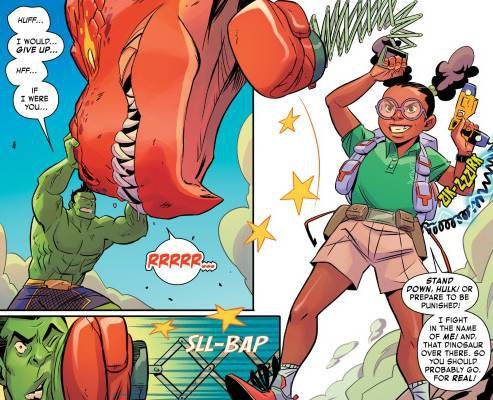 Moon Girl Punches Hulk