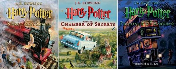 Book covers of the illustrated editions of Harry Potter and the Sorcerer's Stone, Harry Potter and the Chamber of Secrets, and Harry Potter and the Prisoner of Azkaban by J.K. Rowling and illustrated by Jim Kay