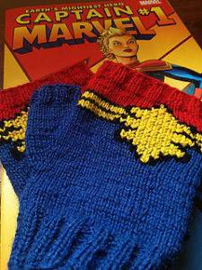 Captain Marvel Fingerless Gloves by Maritini Knits