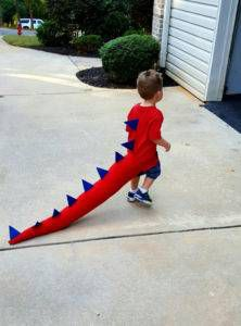 Kids' dragon tail from 9 Bookish Kids' Costumes for Halloween (or Character Day) | BookRiot.com
