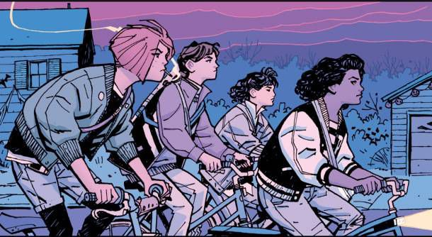 Paper Girls panel from Sci-fi and Fantasy Comics to Cure Your Superhero Hangover | Bookriot.com