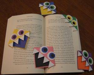 i made these book monster bookmarks by adding eyes teeth and a different colored mouth to the square bookmark above