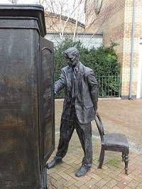 """The Searcher"" - C.S Lewis Statue at Holywood Arches Library in Belfast - stop on the C.S. Lewis trail in Belfast"