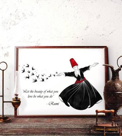 Rumi Quotes about Beauty - Wall Art featuring Whirling Dervish