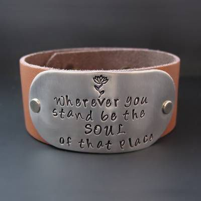Rumi Quotes about Beauty - Wherever You Stand Leather Cuff