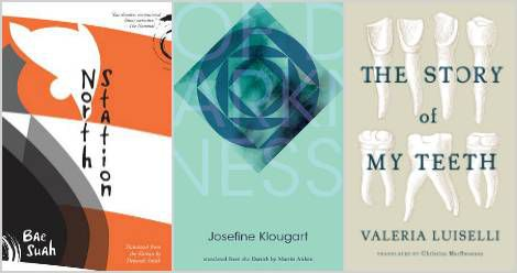 Women-in-translation-post-November. North Station by Bae Suah, Of Darkness by Josefine Klougart, and The Story of My Teeth by Valeria Luiselli