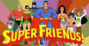 Original 1970s Super Friends team and logo