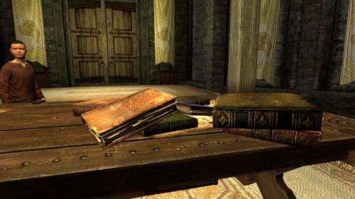 Skyrim screenshot of a stack of books
