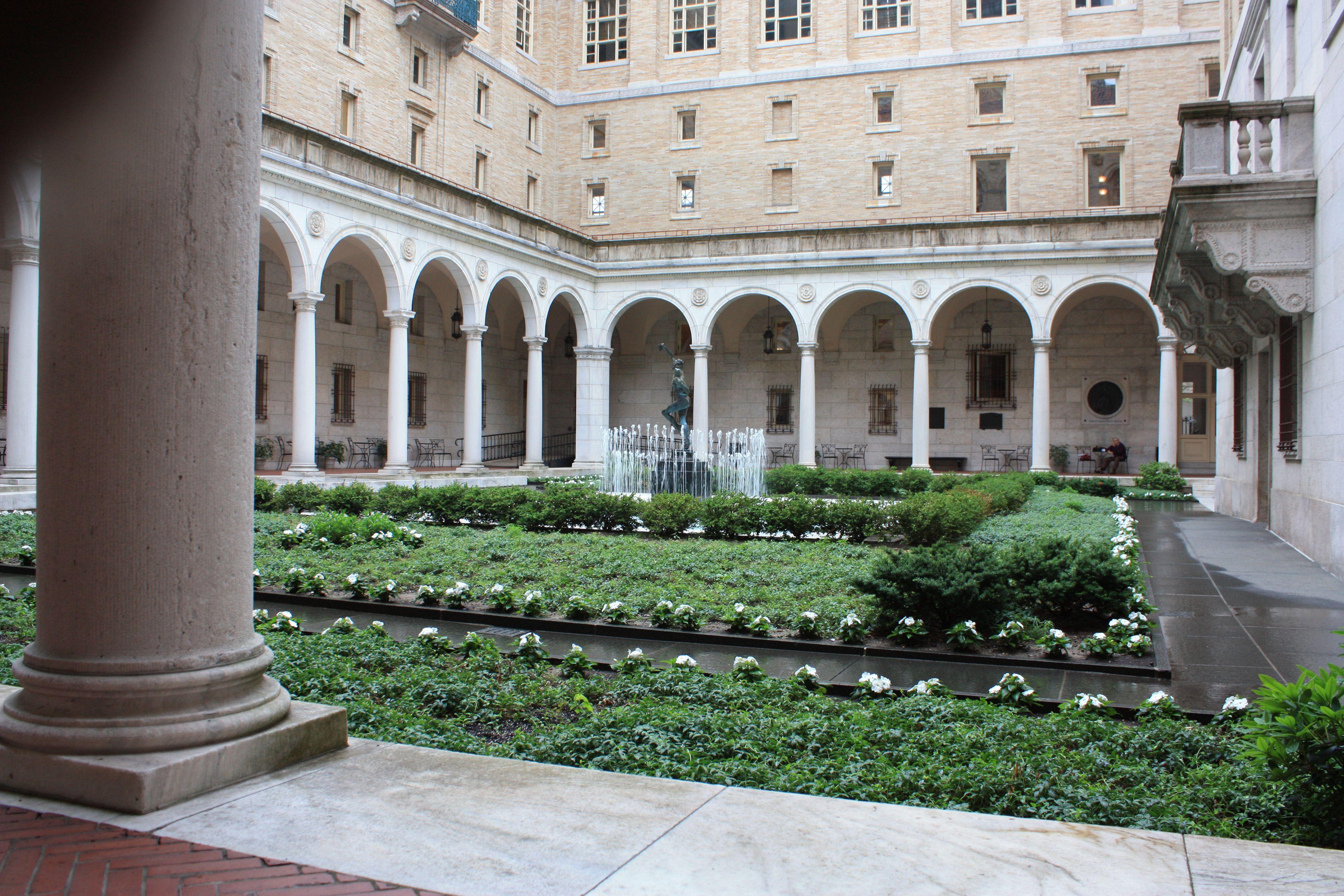 Boston Public Library Courtyard with Fountain. Literary Boston