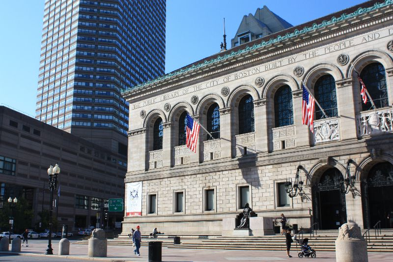 Front of the Boston Public Library. Literary Boston