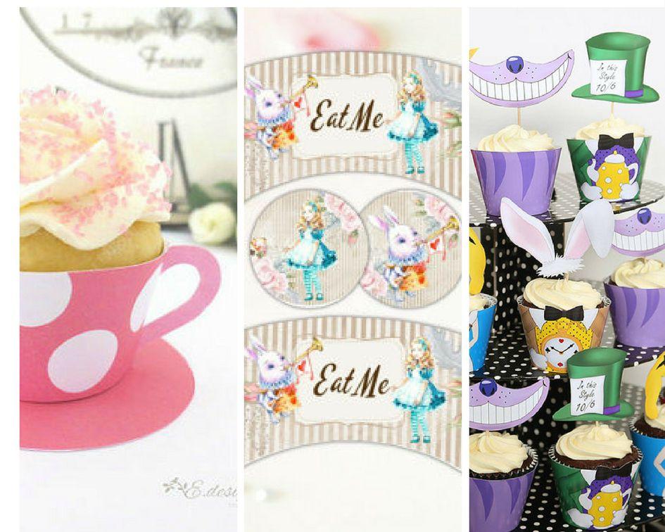 Alice in Wonderland cupcake liners