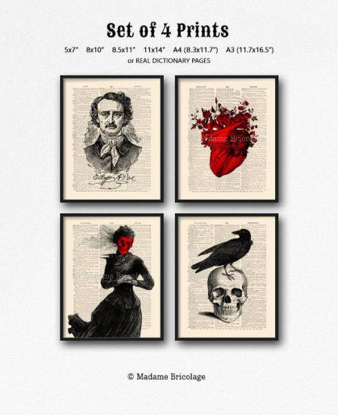 Edgar Allan Poe print set over dictionary paper