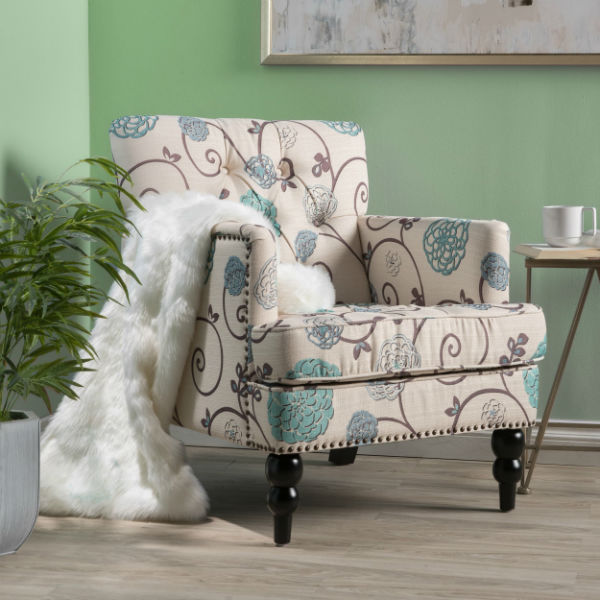 Overstock Harrison Floral Tufted Club Chair ($212)