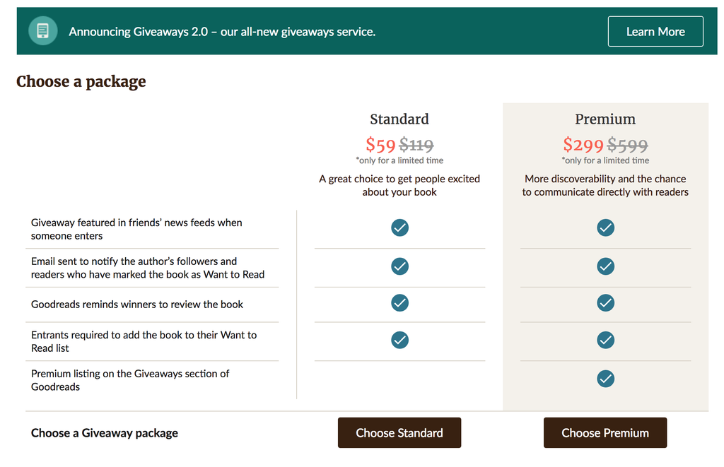Screenshot of two tiers of goodreads giveaways pricing