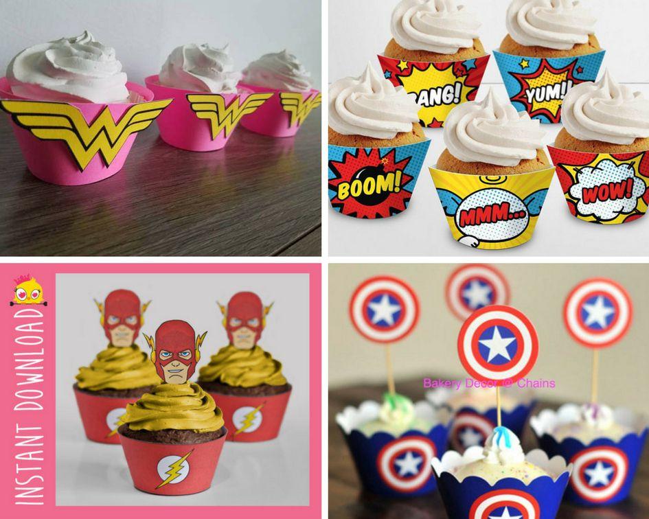 Superhero and comic cupcake liners