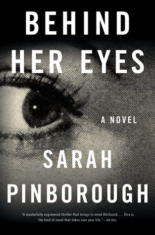 behind her eyes cover image: zoomed in black and white photograph of a woman's eye