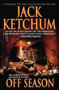cover of Off Season by Jack Ketchum, featuring a cauldron full of bones over a fire, with lots of skulls and bones on the ground around it