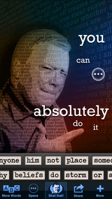William Shatner poetry app screenshot