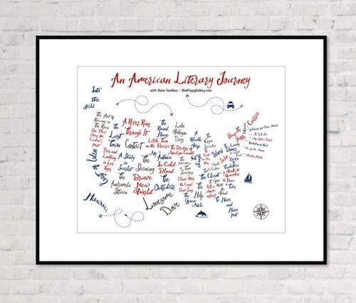 American Literary Map in Ten Beautiful Literary Maps on Etsy | BookRiot.com