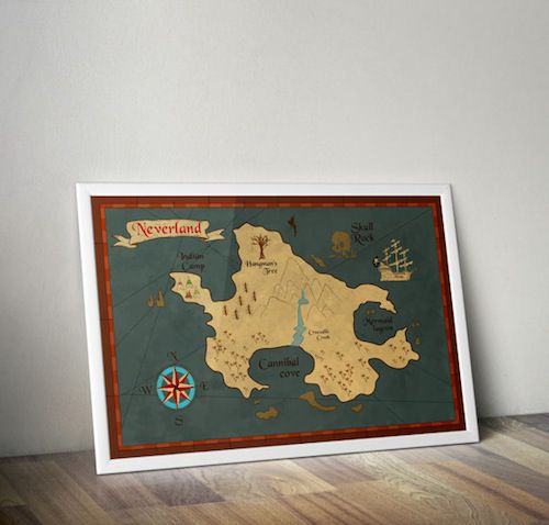 Map of Neverland from Peter Pan in Ten Beautiful Literary Maps on Etsy | BookRiot.com