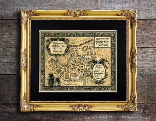 Map of Romeo and Juliet's Verona in Ten Beautiful Literary Maps on Etsy | BookRiot.com