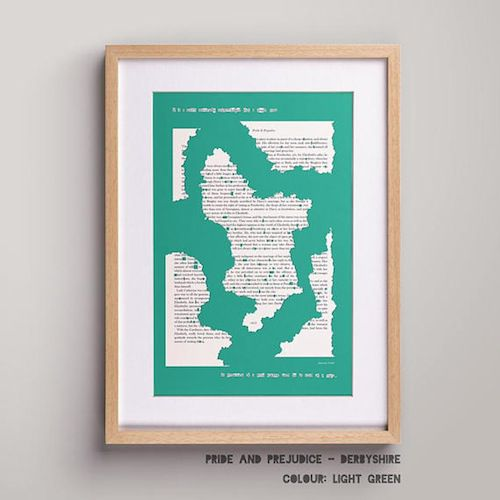 Map of Derbyshire from Pride and Prejudice in Ten Beautiful Literary Maps on Etsy | BookRiot.com
