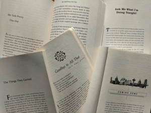 Five open books spread out to show short memoirs listed in the article