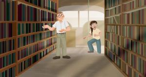 film still from The Bookmobile animated short - StoryCorps videos about books and reading
