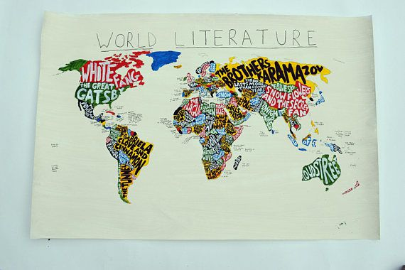 World Literature Map in Ten Beautiful Literary Maps on Etsy | BookRiot.com