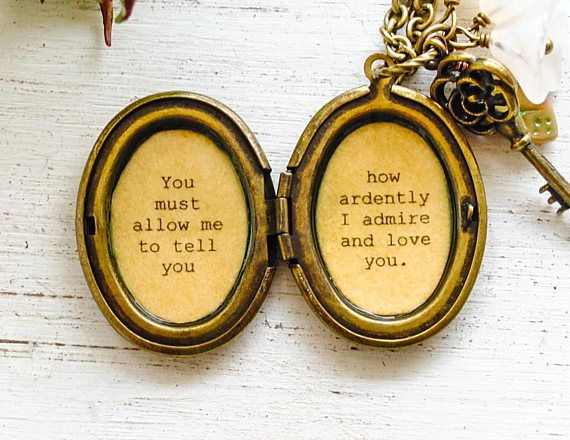 Jane Austen gifts, Locket with Darcy quote