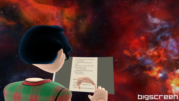 Screenshot of reading Walt Whitman's Leaves of Grass in Virtual Reality