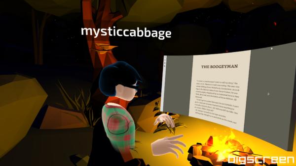 Screenshot of reading Night Shift in Virtual Reality