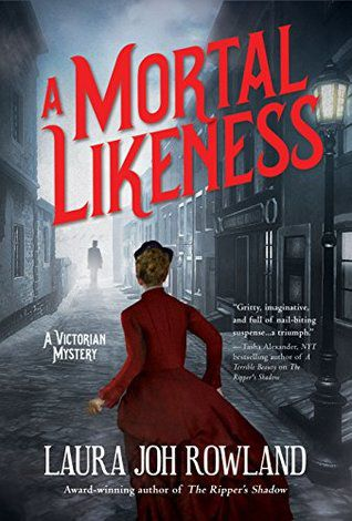 cover image: a woman in a red victorian dress from behind running down a street towards a figure.