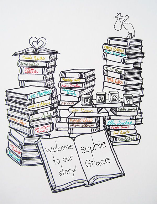 Book Themed Baby Shower: Guest Book Art Print